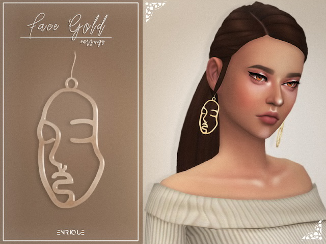 Sims 4 Face Gold Earrings at Enriques4