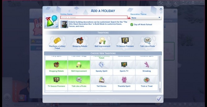 Sims 4 Make Hidden Holiday Traditions Selectable by EP1CxEMAN08 at Mod The Sims
