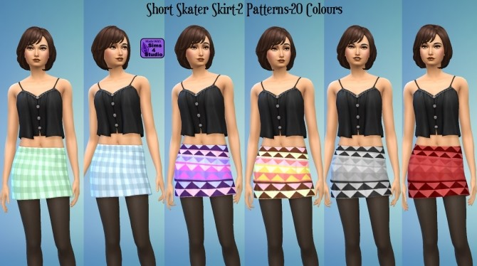 Sims 4 Short Skater Skirt 2 Patterns 20 Colours by wendy35pearly at Mod The Sims