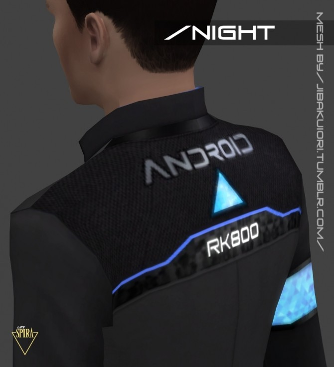 Sims 4 RK800 Connor Jacket RE TEXTURED by LadySpira at Mod The Sims