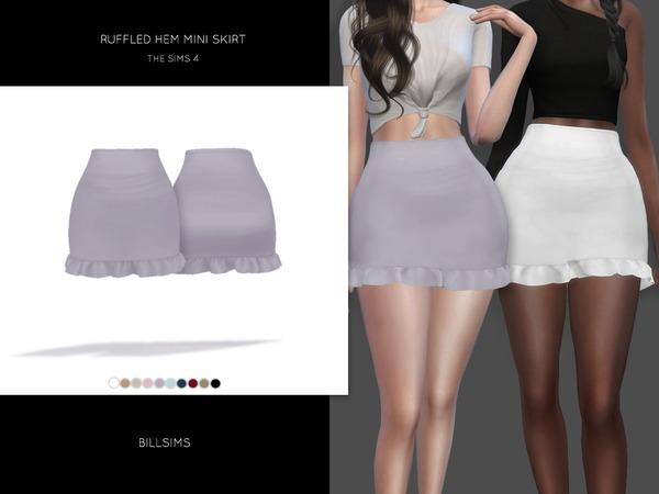 Sims 4 Ruffled Hem Mini Skirt by Bill Sims at TSR