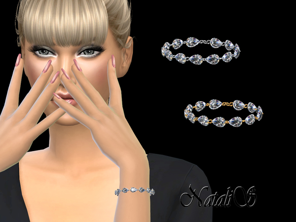 Sims 4 Pear cut diamond bracelet by NataliS at TSR