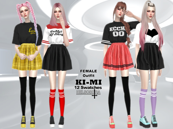 KIMI Outfit Loose T shirt n Skirt by Helsoseira at TSR image 262 Sims 4 Updates