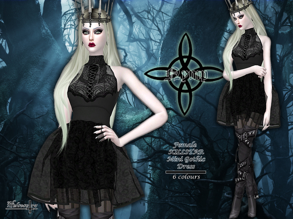 Sims 4 NYMP Sheer Gothic Dress by Helsoseira at TSR