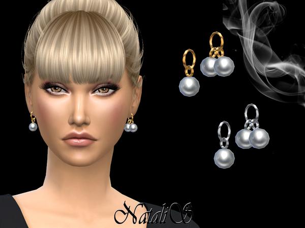 Sims 4 Asymmetrical pearl pendant earrings by NataliS at TSR