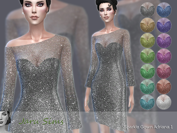 Sims 4 Sparkle Gown Adriana 1 by Jaru Sims at TSR