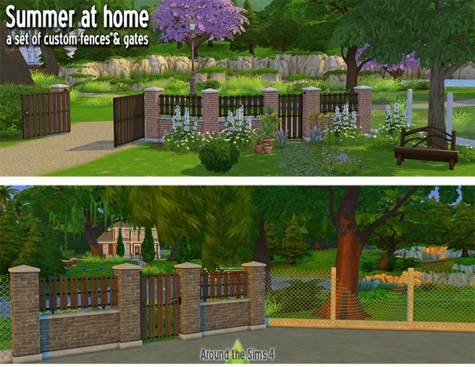 Sims 4 Home fence & gates by Sandy at Around the Sims 4