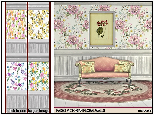 Faded Victorian Floral Walls by marcorse at TSR image 319 Sims 4 Updates