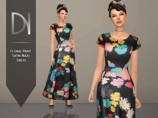 Sims 4 Floral Print Satin Maxi Dress by DarkNighTt at TSR