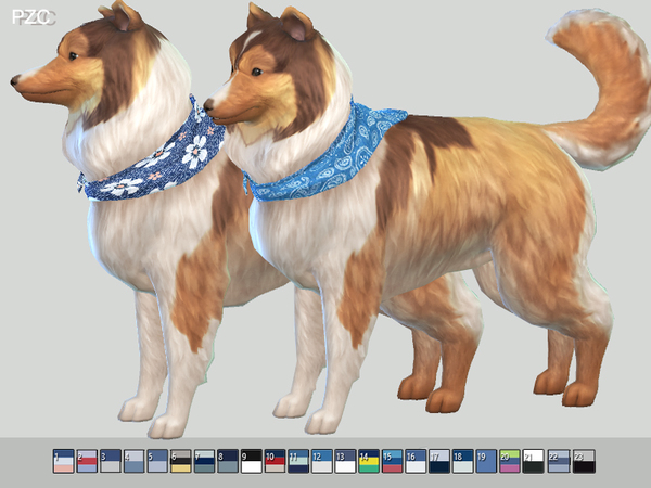 Summer Denim Bandanas For Small Dogs by Pinkzombiecupcakes at TSR image 338 Sims 4 Updates