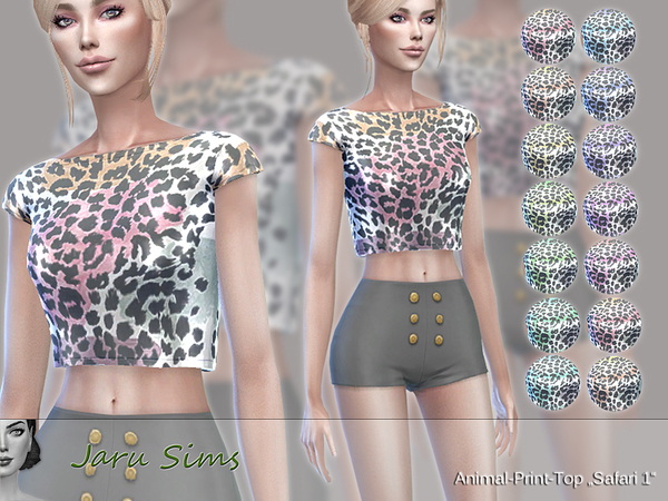 Sims 4 Animal Print Top Safari 1 by Jaru Sims at TSR
