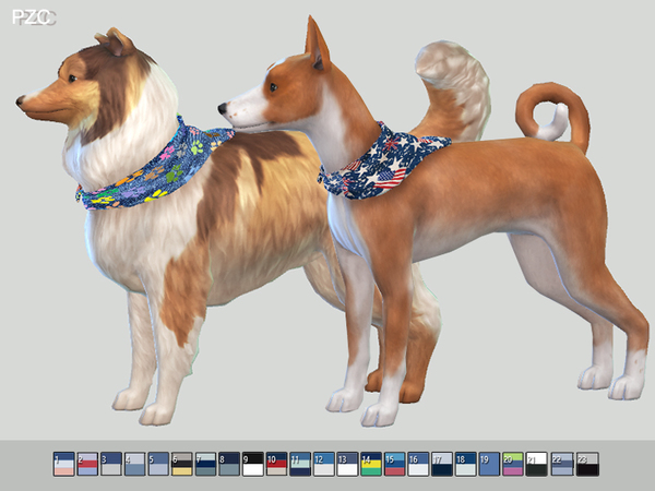 Summer Denim Bandanas For Small Dogs by Pinkzombiecupcakes at TSR image 348 Sims 4 Updates