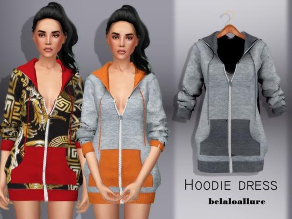 Sims 4 Belaloallure Hoodie dress by belal1997 at TSR