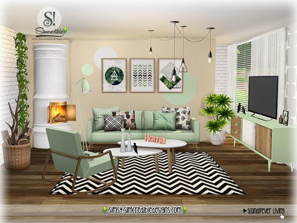 Sims 4 ScandiFever Living room by SIMcredible at TSR