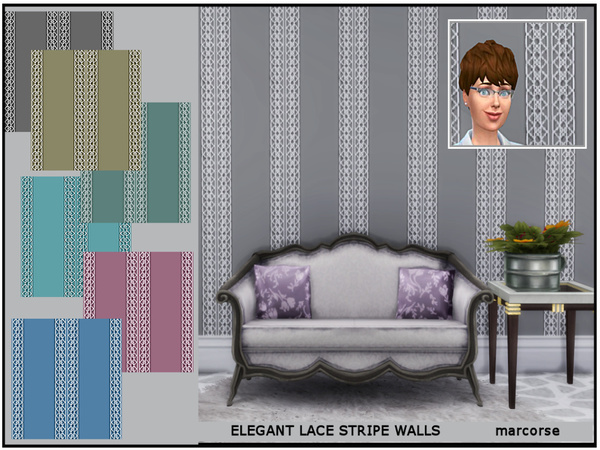 Sims 4 Elegant Lace Stripe Walls by marcorse at TSR