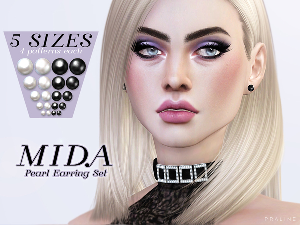 Sims 4 Mida Pearl Earrings Set by Pralinesims at TSR