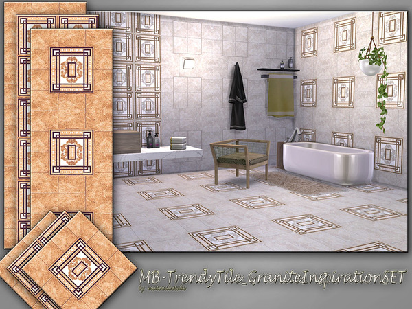 Sims 4 MB Trendy Tile Granite Inspiration SET by matomibotaki at TSR
