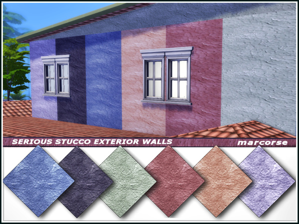 Sims 4 Serious Stucco Exterior Walls by marcorse at TSR