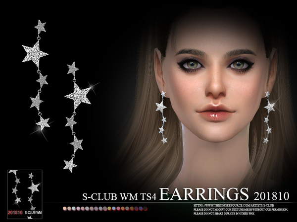 EARRINGS F 201810 by S Club WM at TSR image 438 Sims 4 Updates