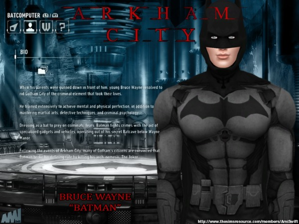 Sims 4 Arkham City Batman costume by AmiSwift at TSR