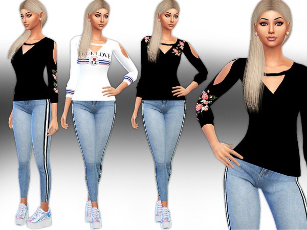 Sims 4 Trendy Floral Embroidery and Pattern Sweats by Saliwa at TSR