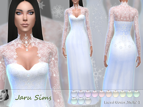 Laced Gown Stella 1 by Jaru Sims at TSR image 530 Sims 4 Updates