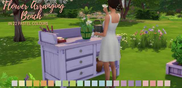 Sims 4 Flower Arranging Bench in 22 Pastel Colours at Simlish Designs
