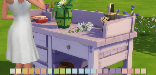 Flower Arranging Bench in 22 Pastel Colours at Simlish Designs image 585 Sims 4 Updates