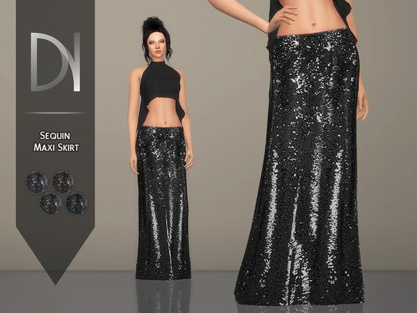 Sims 4 Sequin Maxi Skirt by DarkNighTt at TSR