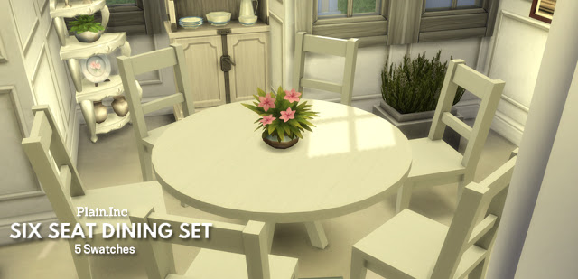 Sims 4 Six Seat Round Dining Set at Simlish Designs
