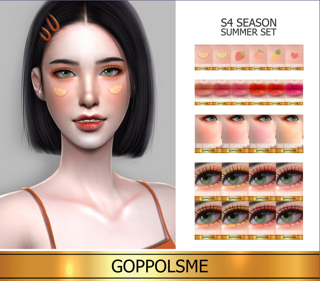 GOLD Season Summer Makeup Set at GOPPOLS Me image 6110 Sims 4 Updates