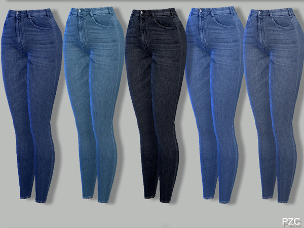 Skinny Stretch Stripes Ripped Knee Denim Jeans by Pinkzombiecupcakes at TSR image 6112 Sims 4 Updates
