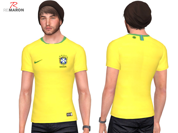 Sims 4 Brazil World Cup shirt for men by remaron at TSR