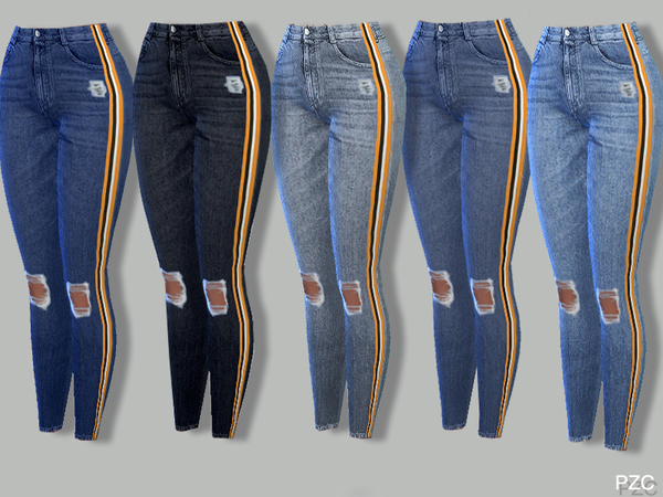 Skinny Stretch Stripes Ripped Knee Denim Jeans by Pinkzombiecupcakes at TSR image 638 Sims 4 Updates