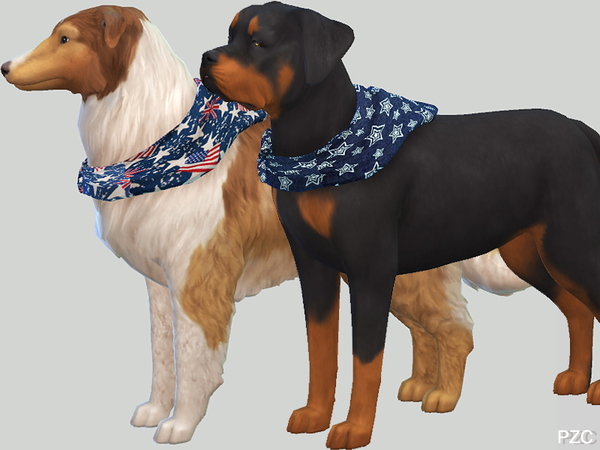 Summer Denim Bandanas For Large Dogs by Pinkzombiecupcakes at TSR image 647 Sims 4 Updates