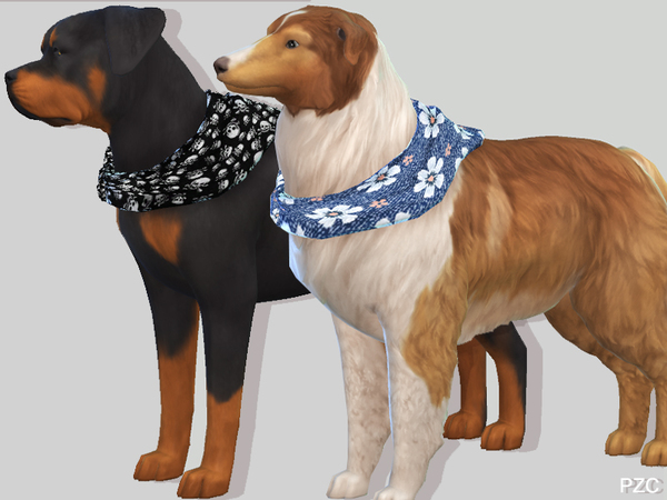 Summer Denim Bandanas For Large Dogs by Pinkzombiecupcakes at TSR image 657 Sims 4 Updates
