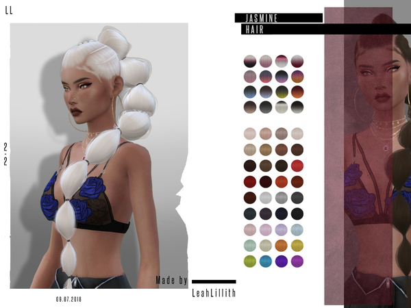 Sims 4 Jasmine Hair by Leah Lillith at TSR