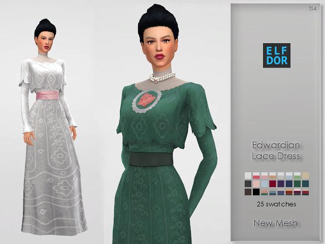 Edwardian Lace Dress at Elfdor Sims image 779 Sims 4 Updates