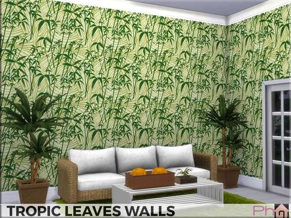 Sims 4 Tropic Leaves Walls by Pinkfizzzzz at TSR