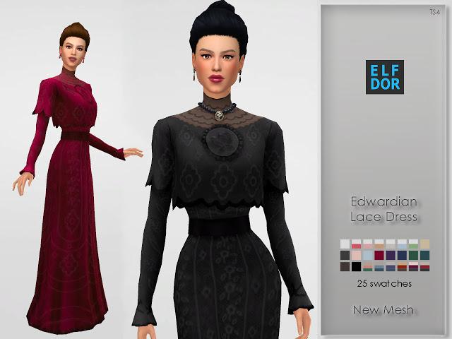 Edwardian Lace Dress at Elfdor Sims image 789 Sims 4 Updates