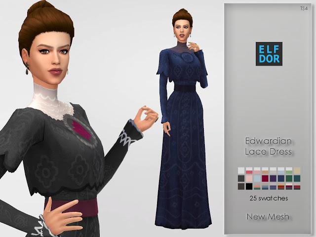 Edwardian Lace Dress at Elfdor Sims image 799 Sims 4 Updates