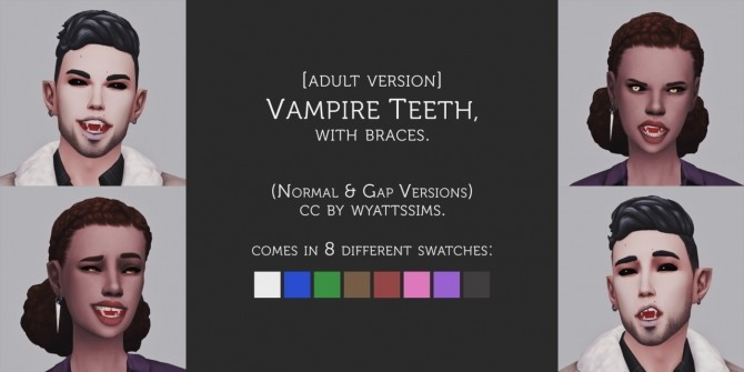 VAMPIRE TEETH WITH BRACES at Wyatts Sims image 843 670x335 Sims 4 Updates