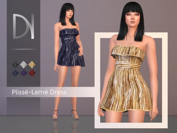 Sims 4 Plisse Lame Dress by DarkNighTt at TSR