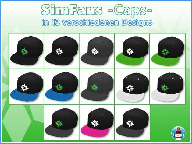 SimFans Merch Caps by Waterwoman at Akisima image 8712 Sims 4 Updates