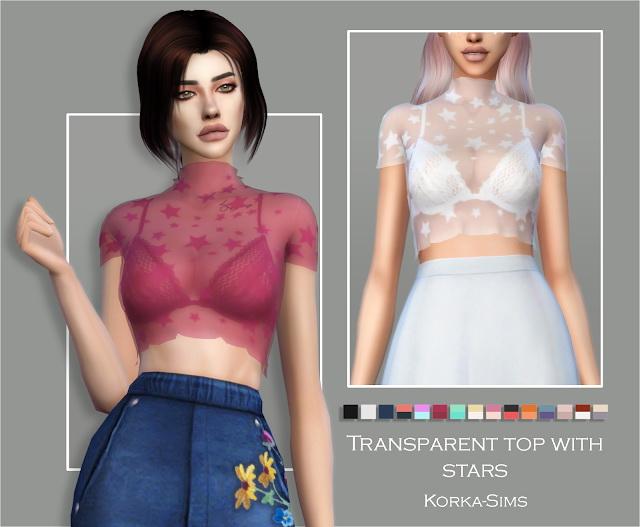 Sims 4 Top with stars at Korka Sims