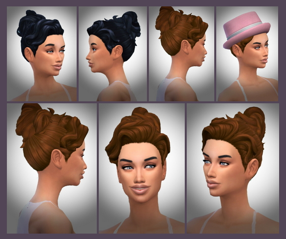 Sims 4 Wavy Hair Line Bun at Birksches Sims Blog