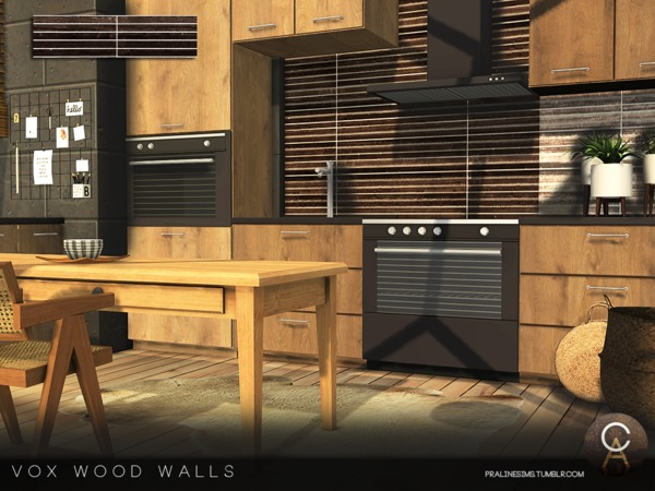 Sims 4 VOX Wood Walls by Pralinesims at TSR