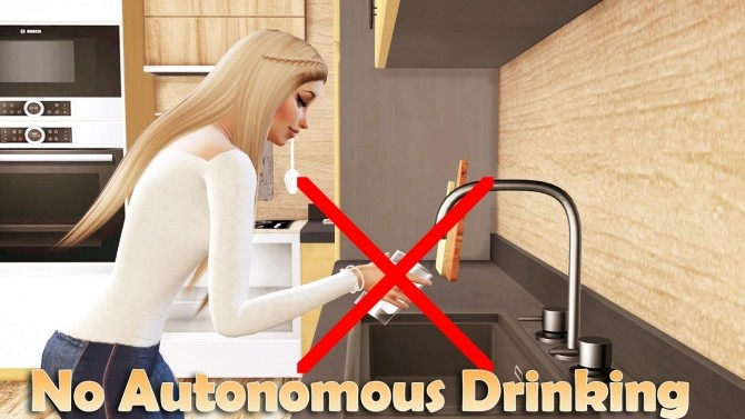 Sims 4 No Autonomous drinking water from the sink and fridge at MSQ Sims