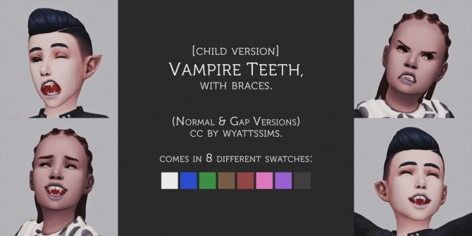 Sims 4 VAMPIRE TEETH (WITH BRACES) CHILD VERSION at Wyatts Sims