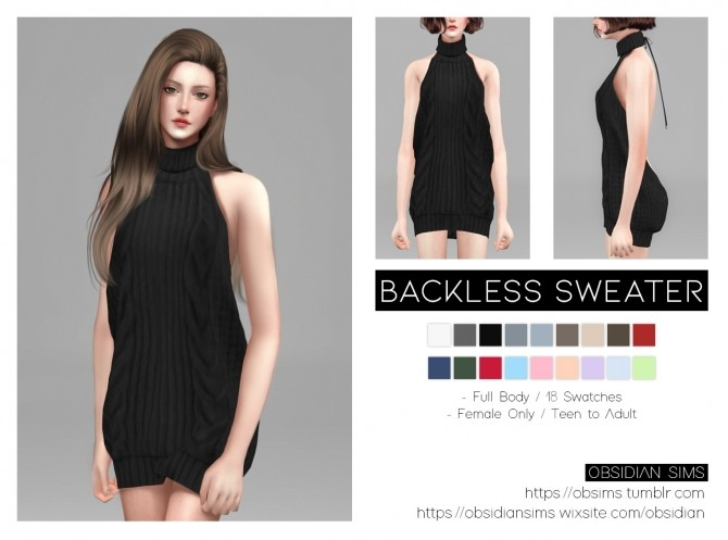Backless Sweater F at Obsidian Sims image 1052 670x497 Sims 4 Updates